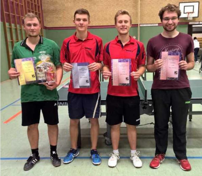 Von links nach rechts: Marco Graeber (SV Wendessen), 2. Gerrit Martikke (TSV Rüningen), 3. Tobias Hinz (TSV Rüningen), 3. Kai Wenger
