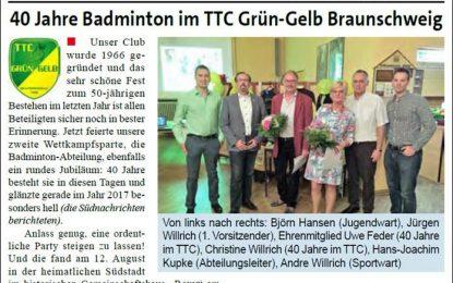 Artikel zum Badminton-Jubiläum in den Südnachrichten